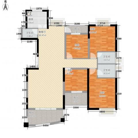 联泰香域中央4室1厅3卫1厨168.00㎡户型图