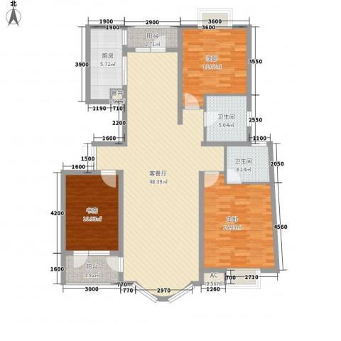 亚辰景院3室1厅2卫1厨124.58㎡户型图