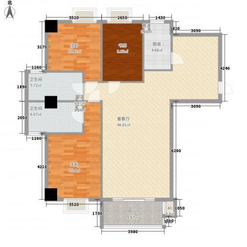 梧桐朗座3室1厅2卫1厨146.00㎡户型图
