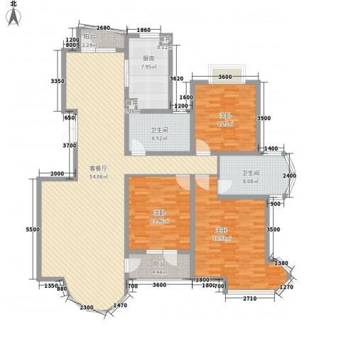 亚辰景院3室1厅2卫1厨147.61㎡户型图