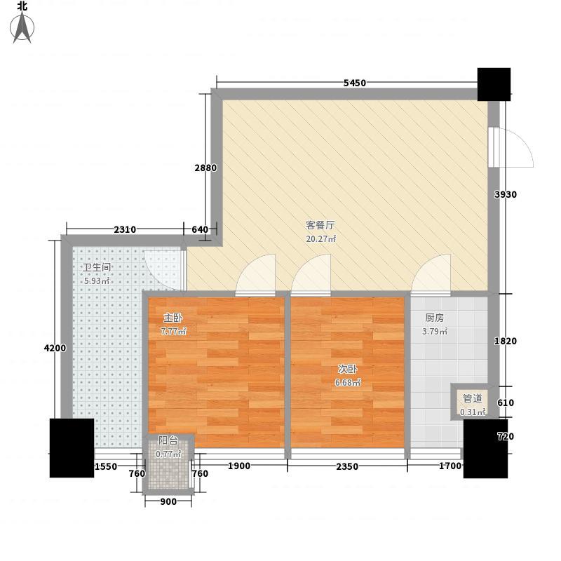 因特摩尔64.00㎡因特摩尔户型图2#楼B3户型2室2厅1卫1厨户型2室2厅1卫1厨