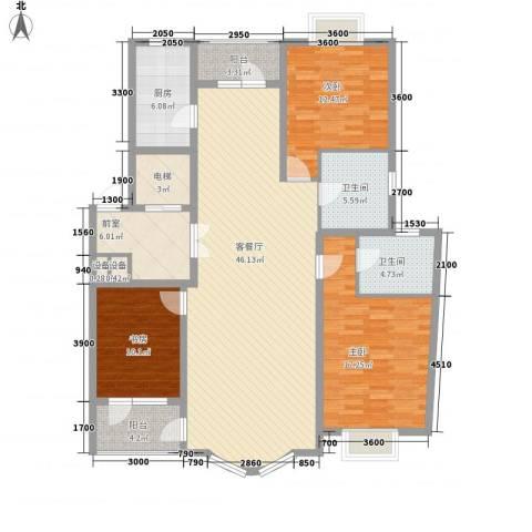 亚辰景院3室1厅2卫1厨136.06㎡户型图