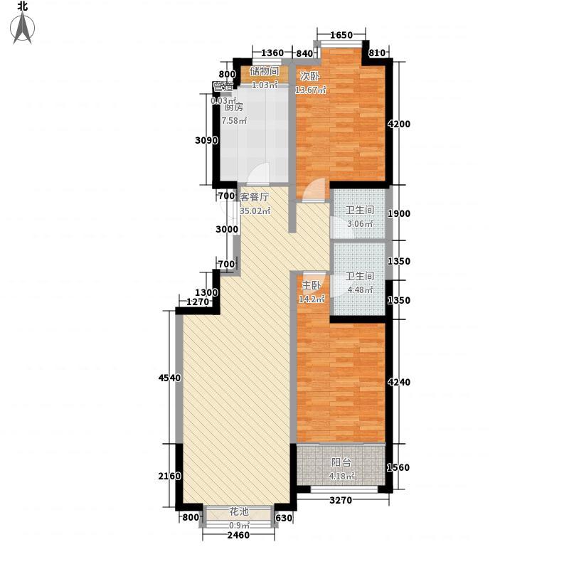 郑家庄生活小区(西站)两室两厅两卫2户型2室2厅2卫1厨
