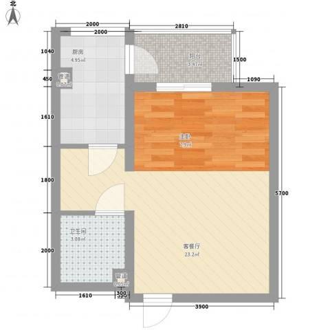上奥世纪中心1厅1卫1厨51.00㎡户型图