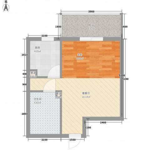 上奥世纪中心1厅1卫1厨49.00㎡户型图