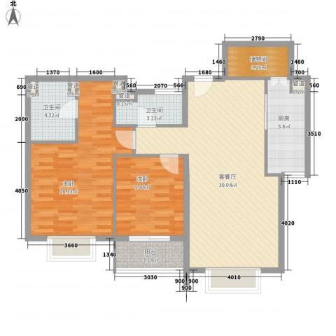 安慧西里2室1厅2卫1厨79.00㎡户型图