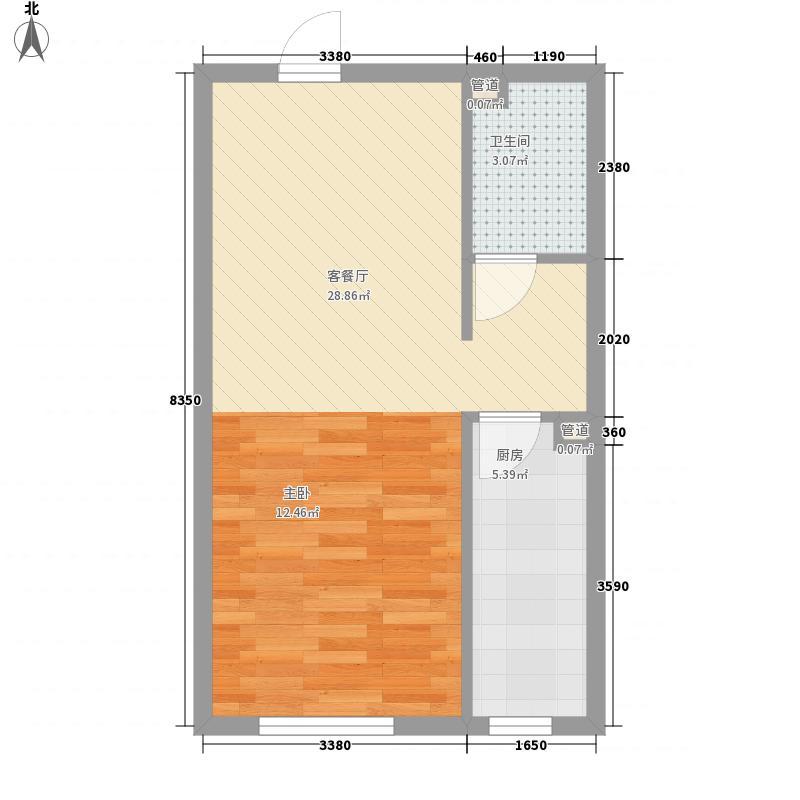 上奥世纪中心50.63㎡aQ户型1室1厅1卫1厨
