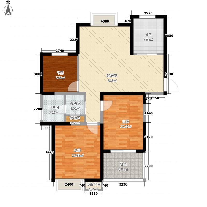 西城逸品114.00㎡第一期第四栋A户型3室2卫1厨