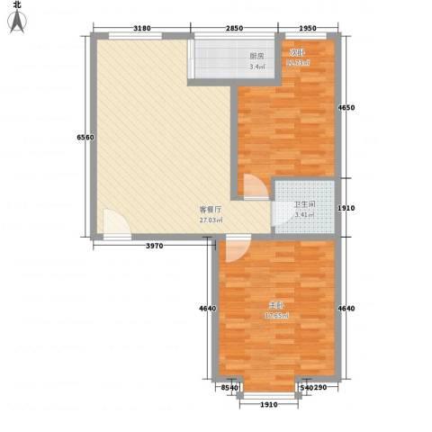 滨河城・左岸2室1厅1卫1厨90.00㎡户型图