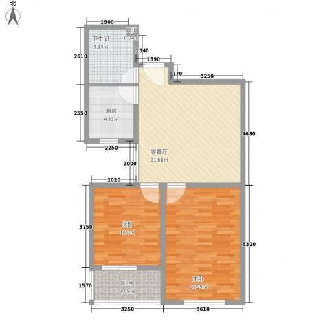滨河城・左岸2室1厅1卫1厨89.00㎡户型图