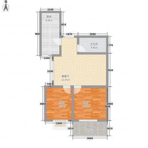 滨河城・左岸2室1厅1卫1厨68.08㎡户型图