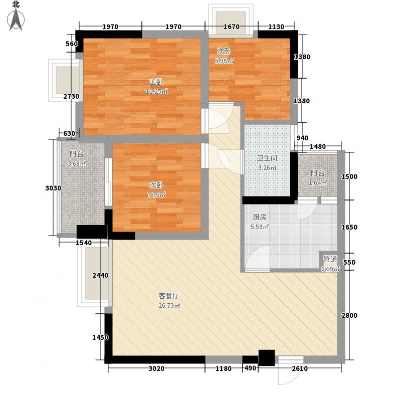 龙门镇90.00㎡四号楼C19户型3室2厅1卫1厨