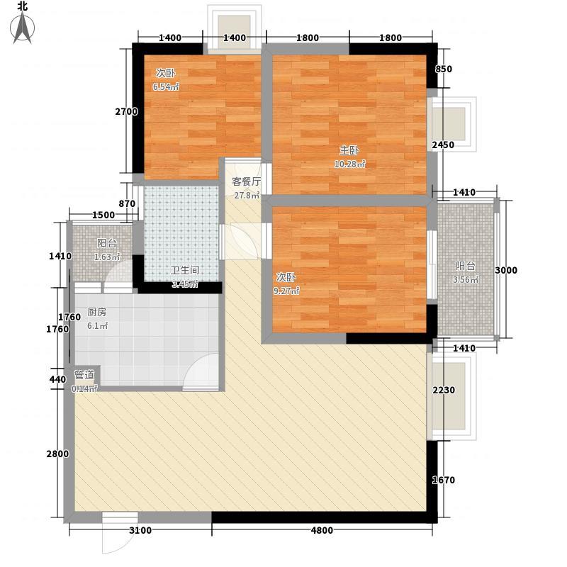 龙门镇90.00㎡5,6号楼分奇偶层C12B户型3室2厅1卫1厨