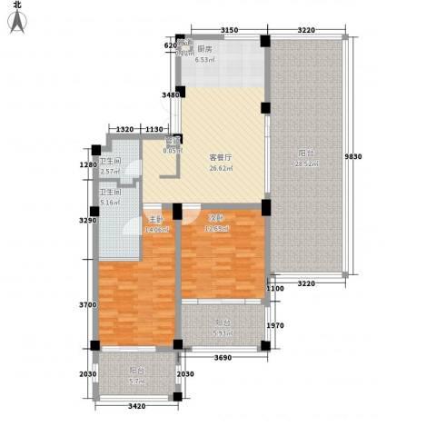 太湖黄金水岸2室1厅2卫0厨145.00㎡户型图