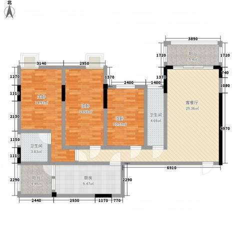 逸景雅轩3室1厅2卫1厨142.00㎡户型图