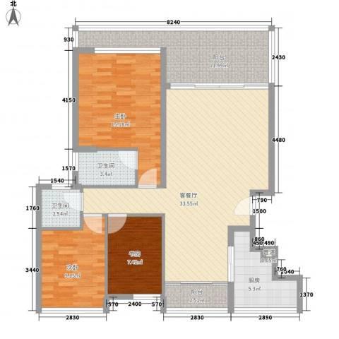 万科城市高尔夫花园二期3室1厅2卫1厨130.00㎡户型图