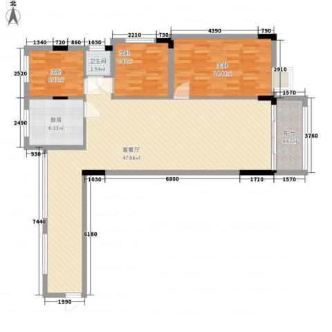 逸景雅轩3室1厅1卫1厨124.00㎡户型图