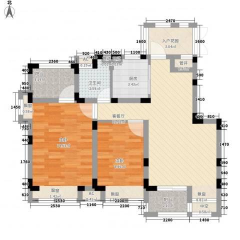 南山雨果2室1厅1卫1厨90.00㎡户型图