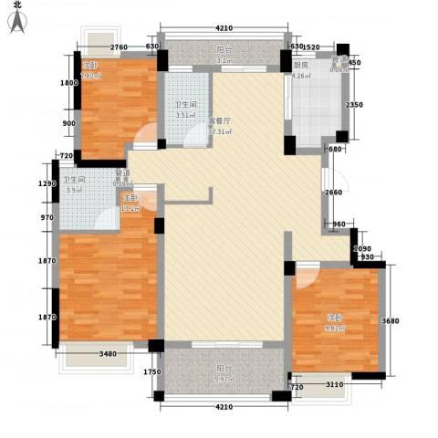 融绿理想湾3室1厅2卫1厨130.00㎡户型图