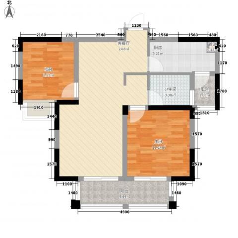 融绿理想湾2室1厅1卫1厨88.00㎡户型图