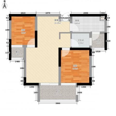 融绿理想湾2室1厅1卫1厨79.00㎡户型图