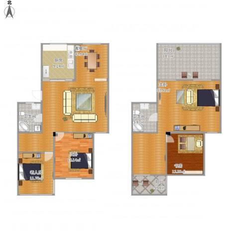 怡峰家园4室1厅2卫1厨217.00㎡户型图