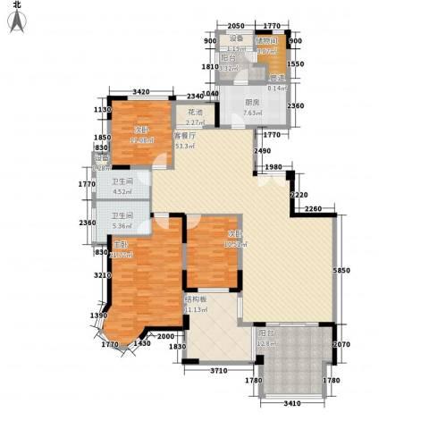 熙园3室1厅2卫1厨169.13㎡户型图