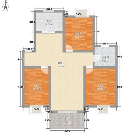 琴韵华庭3室1厅1卫1厨111.00㎡户型图