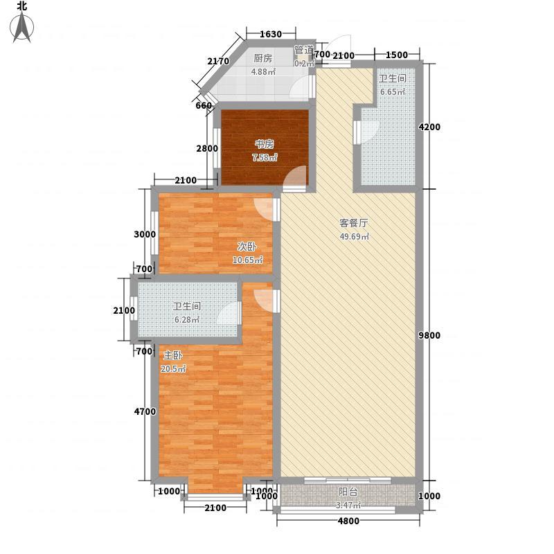 紫光绅苑二期户型图7户型3室2厅2卫1厨