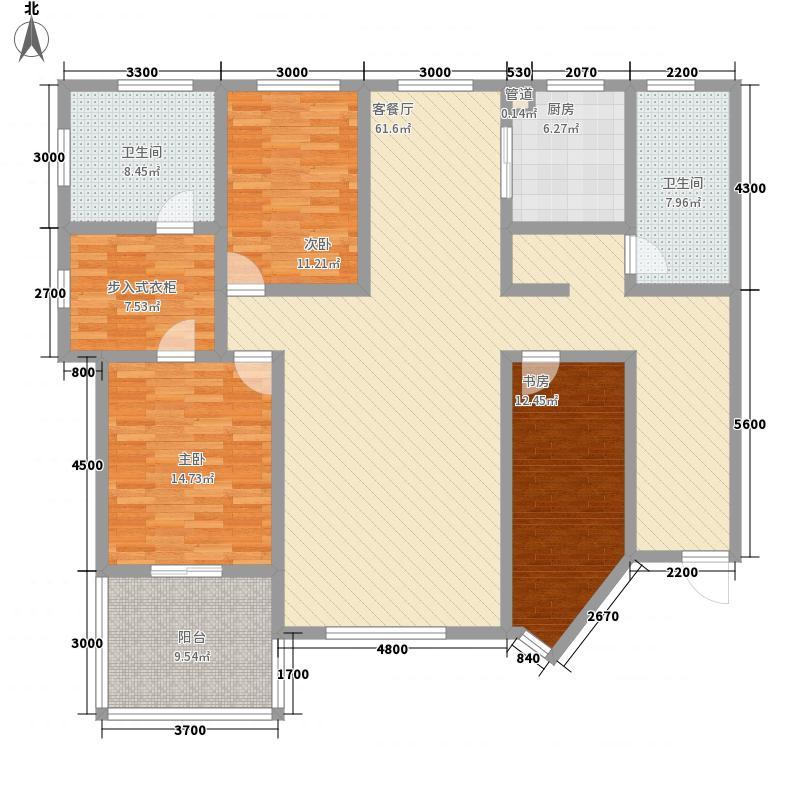 紫光绅苑二期176.46㎡户型图1户型3室2厅2卫1厨
