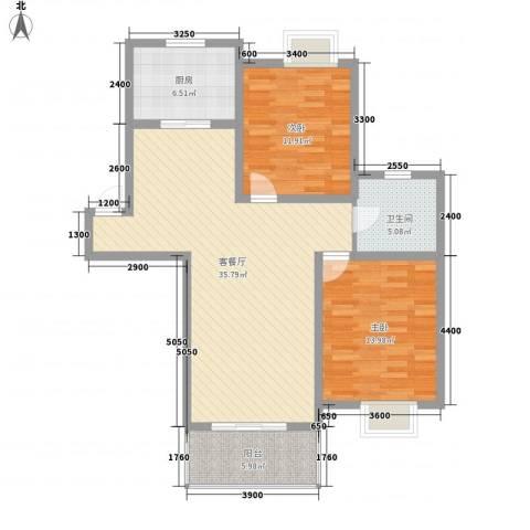 琴韵华庭2室1厅1卫1厨97.00㎡户型图