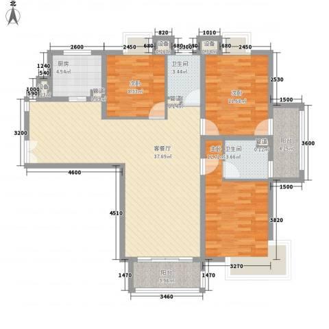 泰宸舒庭3室1厅2卫1厨133.00㎡户型图