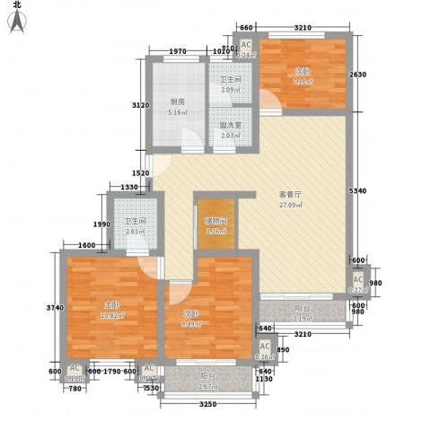 万兆东庭3室1厅2卫1厨112.00㎡户型图