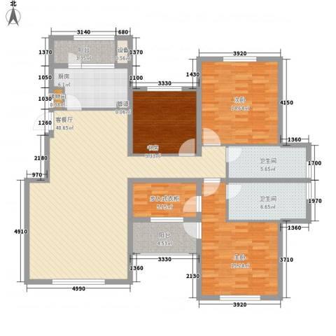 融科玖玖城3室1厅2卫1厨160.00㎡户型图