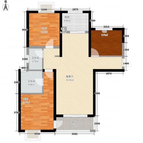滨湖世纪城春融苑3室1厅2卫1厨82.00㎡户型图