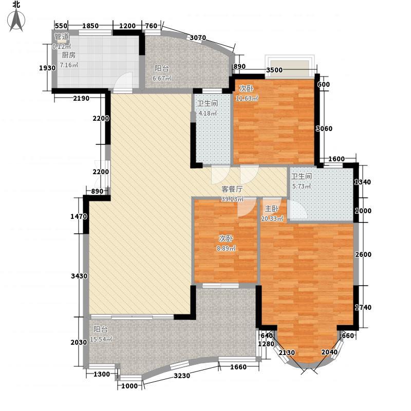 珠江帝景湾146.87㎡凯旋庭C、D座02户型3室2厅2卫1厨