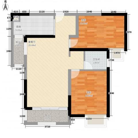 融绿理想湾2室1厅1卫1厨89.00㎡户型图