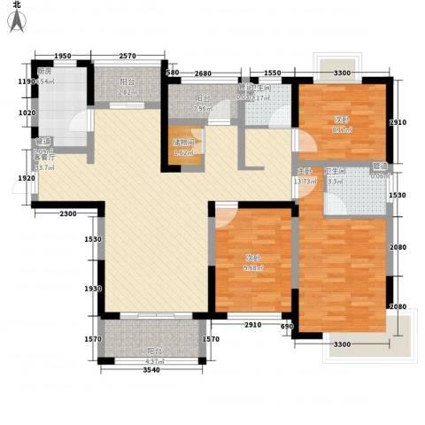 融绿理想湾3室1厅2卫1厨129.00㎡户型图