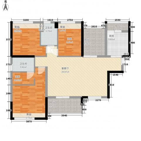 花样年江山3室1厅2卫1厨120.00㎡户型图