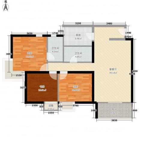 长春都市花园3室1厅2卫1厨129.00㎡户型图