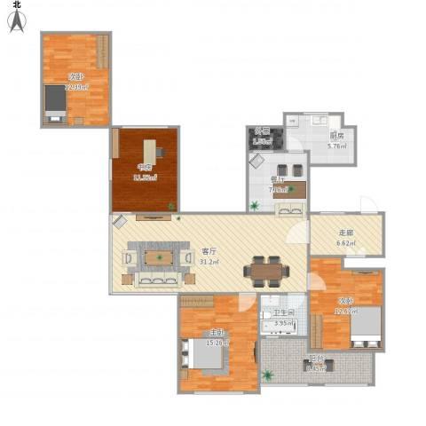 金色城邦4室2厅1卫1厨155.00㎡户型图
