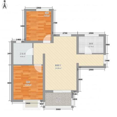 滨湖世纪城春融苑2室1厅1卫1厨86.00㎡户型图
