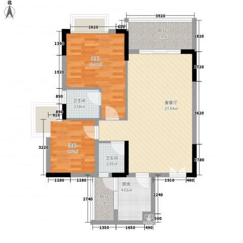 滨江豪园2室1厅2卫1厨117.00㎡户型图