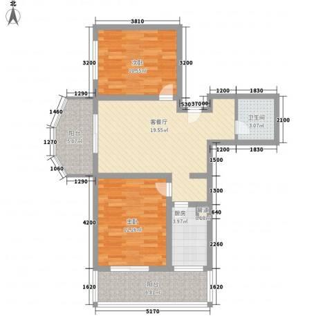 珠峰苑2室1厅1卫1厨61.44㎡户型图