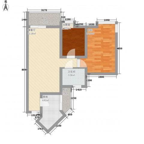 黄埔雅苑三期2室1厅1卫1厨79.00㎡户型图