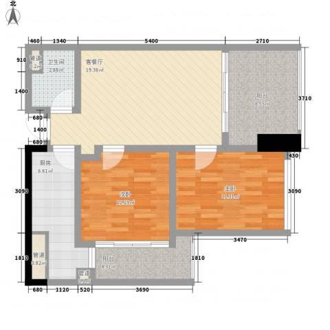 江宇天府城2室1厅1卫1厨95.00㎡户型图