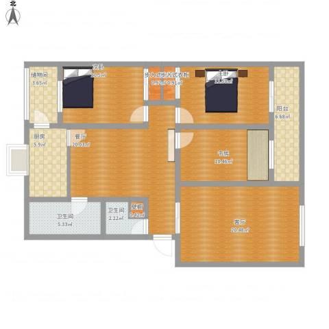 第三干休所3室2厅2卫1厨145.00㎡户型图