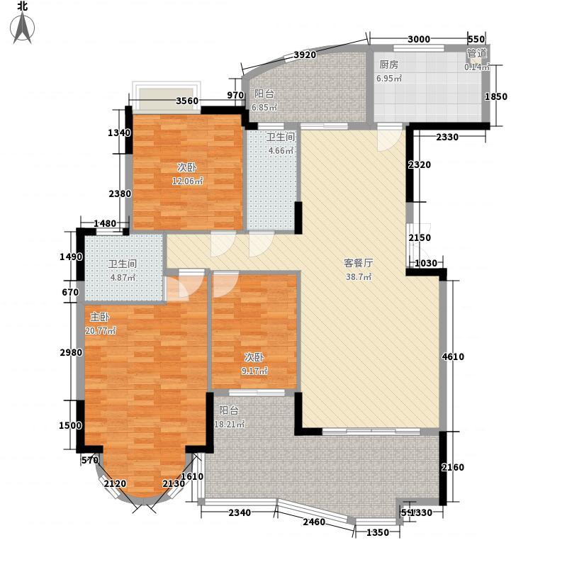 珠江帝景湾147.00㎡一期凯怡庭C座户型3室2厅2卫