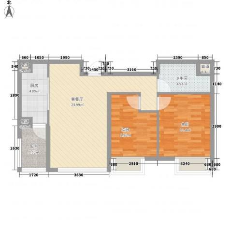 「大连天地」悦翠台2室1厅1卫1厨82.00㎡户型图