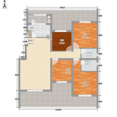 融科玖玖城4室1厅2卫1厨160.00㎡户型图
